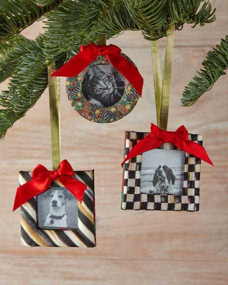 mackenzie childs frame christmas ornaments 3 piece set