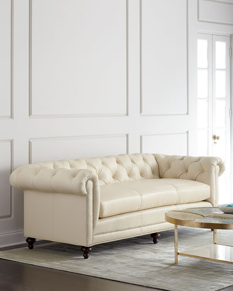 Massoud Davidson Cream Tufted Chesterfield Sofa