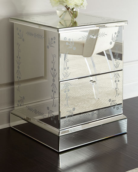 Venetian Style Mirrored 2 Drawer File Box