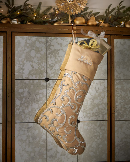 Beaded Scroll Christmas Stocking