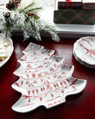 Country Estate Winter Frolic Merry Making Tree Platter