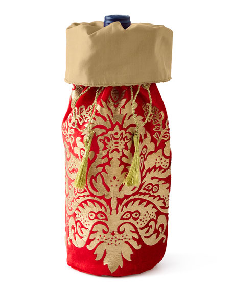 Crimson & Gold Khari-Print Wine Bag