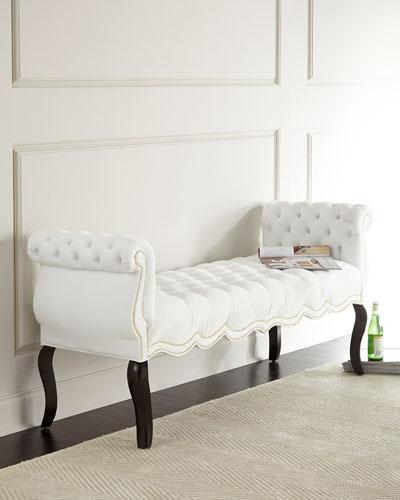 White Rebecca Tufted Bench