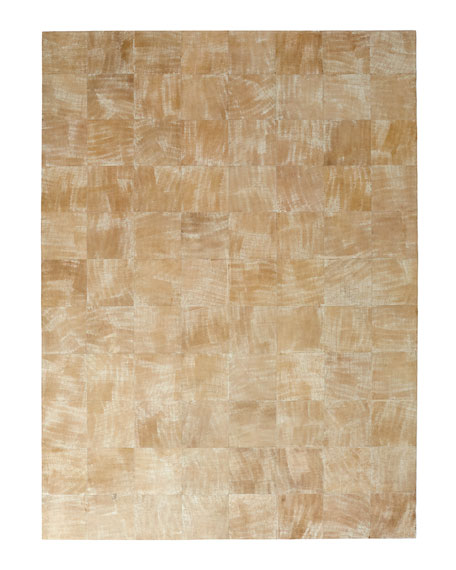 "Dooley Beige Leather Rug, 9'6"" x 13'6"""