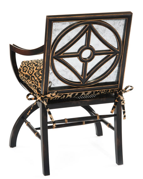 Macayla Mirrored Leopard-Print Armchair