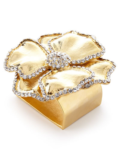 Swarovski® Crystal Flower Napkin Ring  Set of Four  Golden