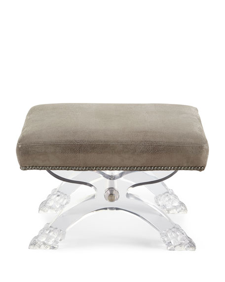 Robinson Leather Stool, Gray Metallic