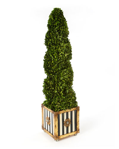 Indoor/Outdoor Faux-Boxwood Swirl Topiary