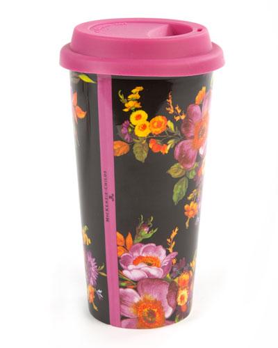 Black Flower Market Travel Cup