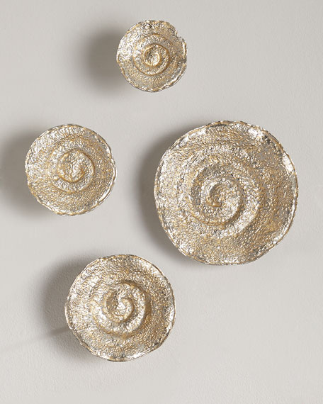 Gold Leaf/Nickel Escargot Wall Hangings, Set of 4