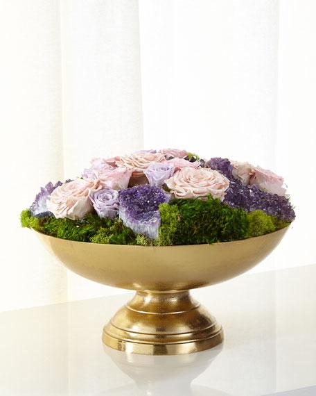 Preserved Roses in Golden Urn