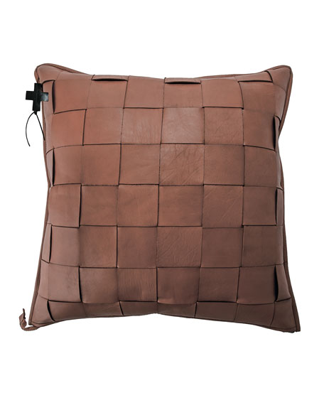 Saddle Trenza Woven Leather Pillow