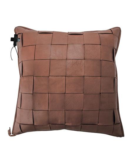 Saddle Trenza Woven Leather Pillow