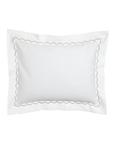 King Scallops Embroidered Sham