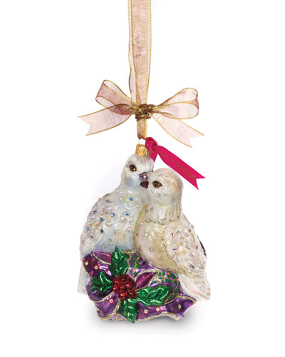 Two Turtle Doves Glass Ornament