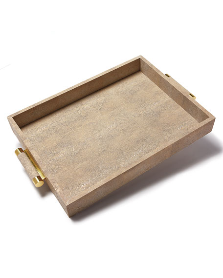 Wheat Faux-Shagreen Serving Tray