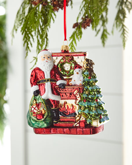 Red & Green Collection Santa with Fireplace Christmas