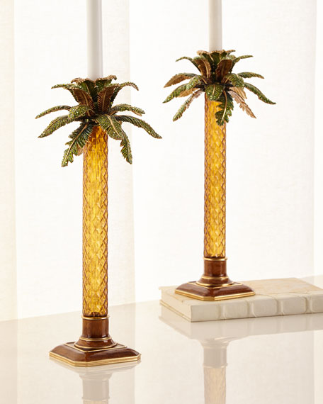 Palm Tree Jeweled Glass Candlestick