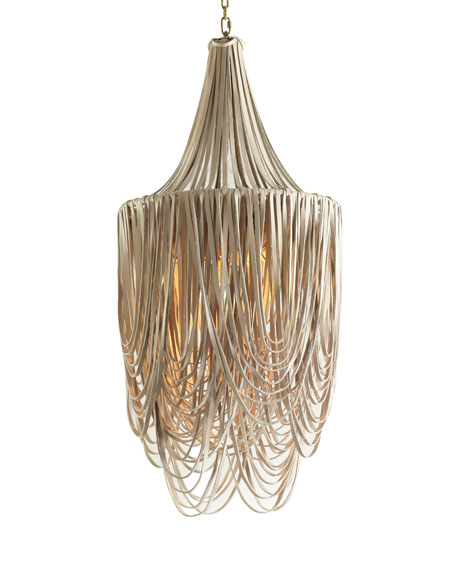 Round Small Long Leather Whisper Chandelier