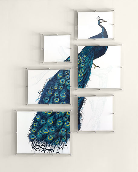 6 Panel Peacock Wall Art