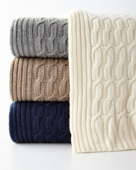 Seed-Stitch Cable Throw