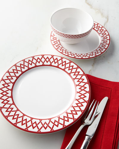 12-Piece Red Geometric Dinnerware Service