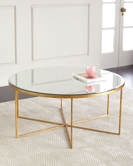 Farren Antiqued Mirrored Coffee Table