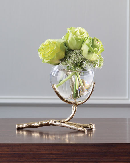 Twig Brass Three-Vase Holder
