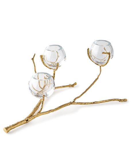 Global Views Twig Brass Three-Vase Holder