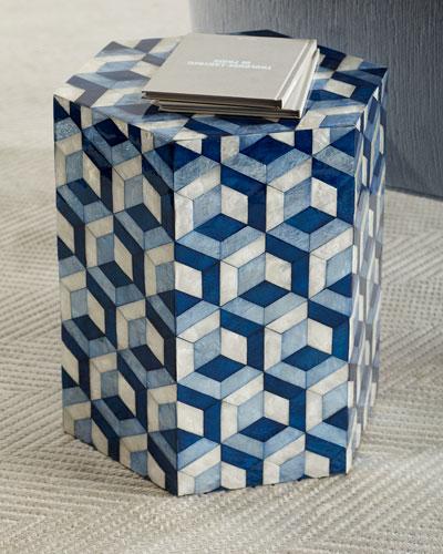 Hexagon Garden Seat  Blue/White