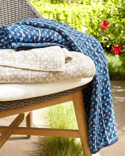 Recycled Retro Throw Blanket, Blue