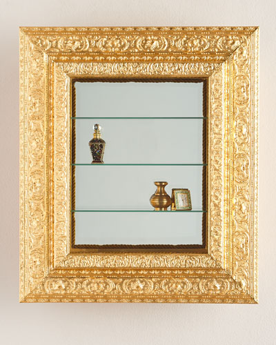Wall Vitrine with Wooden Frame