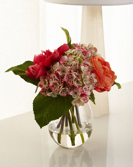 Rose Hydrangea Glass Teardrop