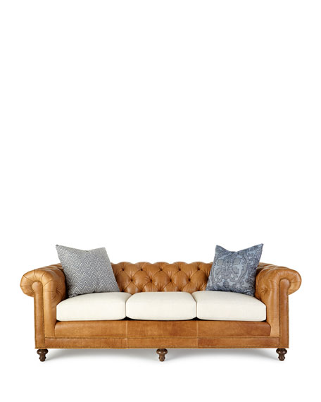 Clayton Tufted Leather Sofa 94""