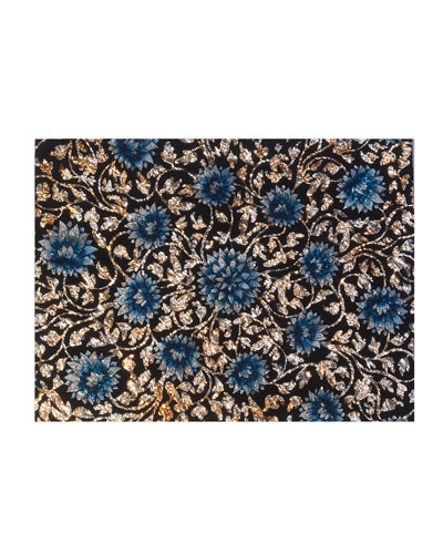 Flower Painted Mirror Placemat  Light Blue