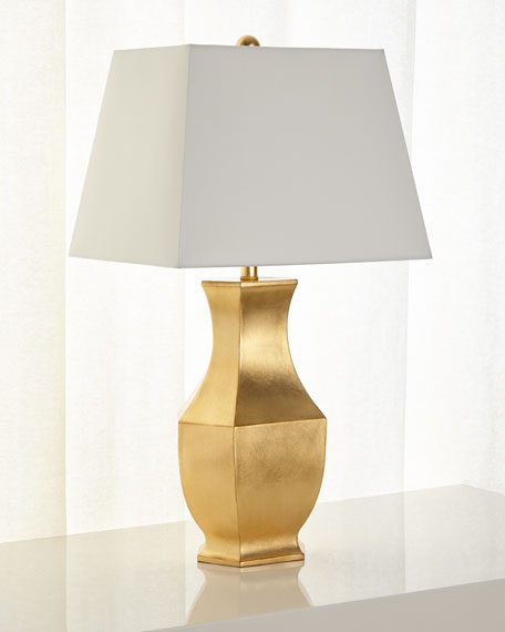 Gold Leaf Mason Lamp with Rectangular Shade