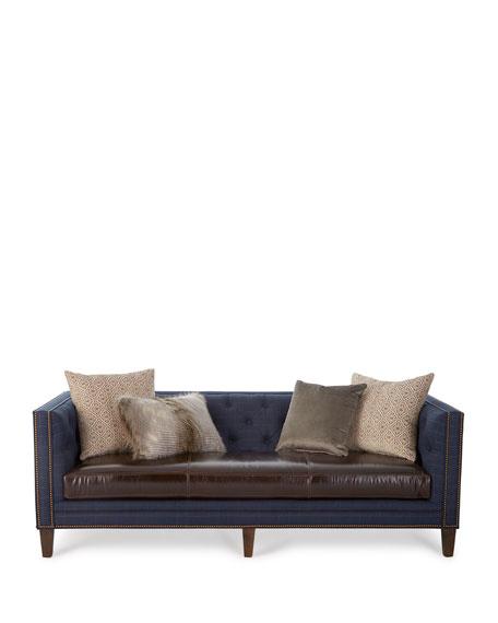"Ivy Leather-Seat Sofa 90"""