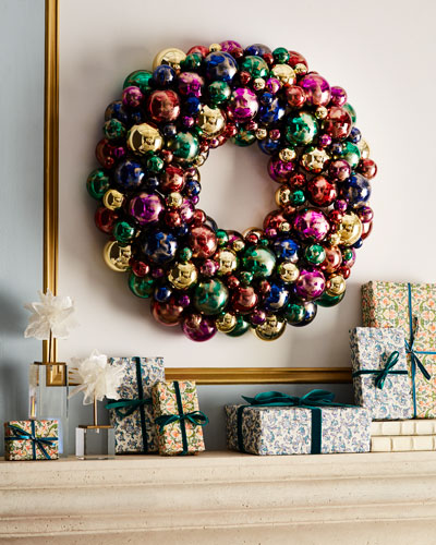 Handmade Sparkling Jewel Tones Christmas Wreath, 24