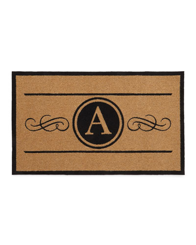 3 X 5 Natural Custom Scroll Monogrammed Door Rug