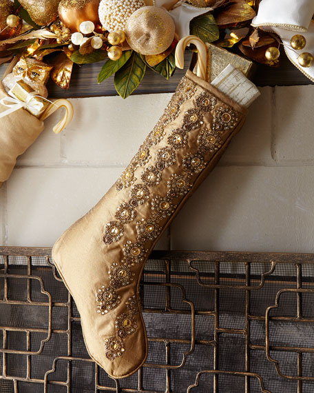 Glimmer & Gold Beaded Stocking without Cuff