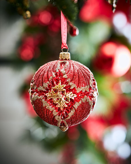 moulded glass ball christmas ornament in red