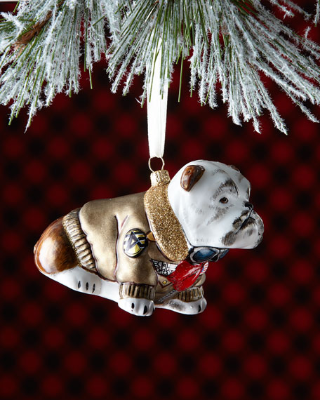 English Bulldog with Bomber Jacket Christmas Ornament