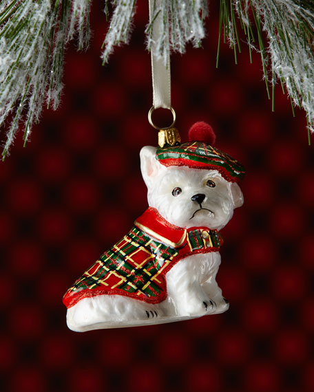 Westie Dog in Tartan Jacket Christmas Ornament