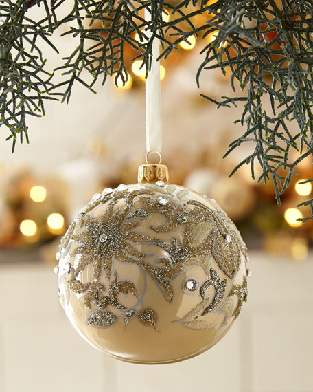 Champagne Opal Glass Ball Christmas Ornament