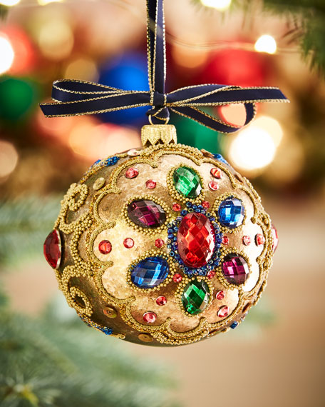 Gold Glass Ball Christmas Ornament With Multi Stones