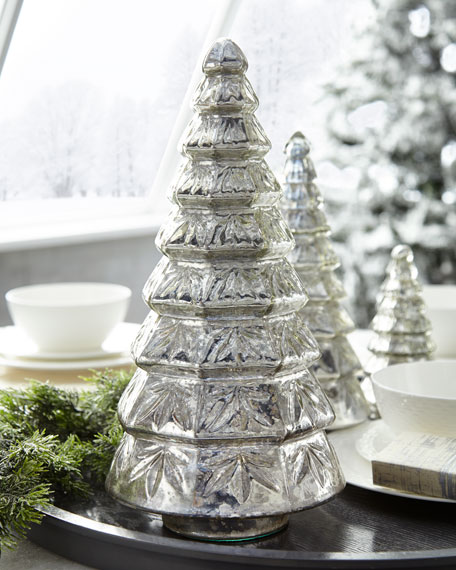 Mercury-Glass Layered Tabletop Christmas Tree, Large