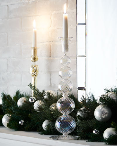 Optic Clear Iridescent Glass Holiday Candle Holder, 15
