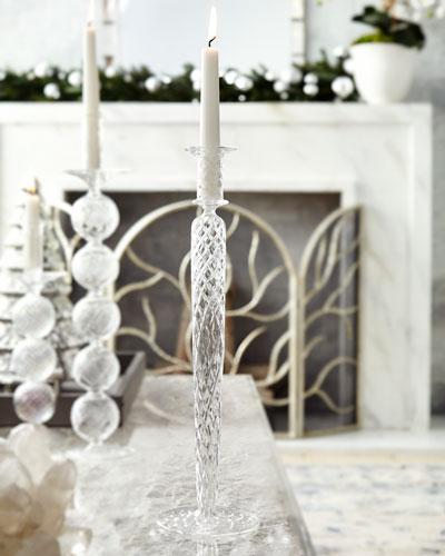 Clear Cut Glass Candle Holder, 14