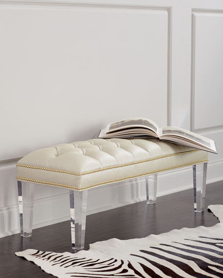 Haute House Custan Leather Bench with Acrylic Legs