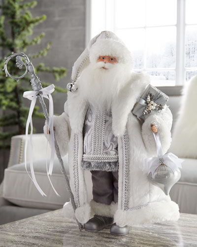 Silver & White Standing Santa Figure, 20
